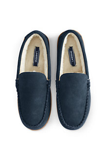 Men's Suede Moccasin Slippers with Fur Lining