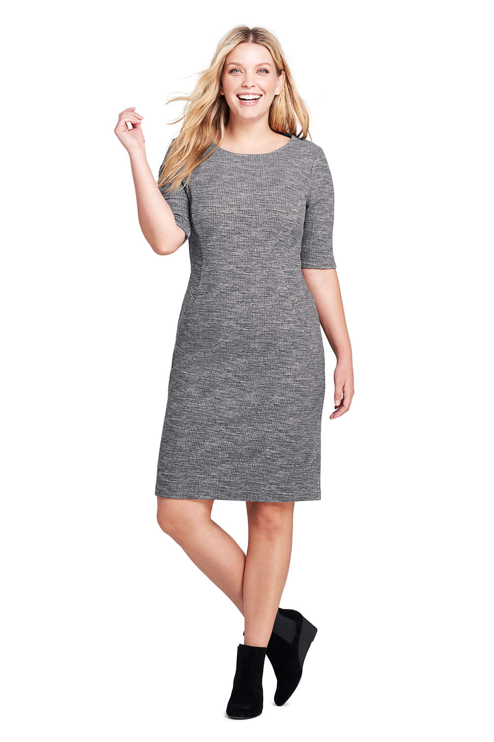 3d0af5f859d73 Women s Plus Size Ponte Knit Sheath Print Dress with Elbow Sleeves from  Lands  End