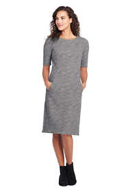 Women's Ponte Knit Sheath Print Dress with Elbow Sleeves