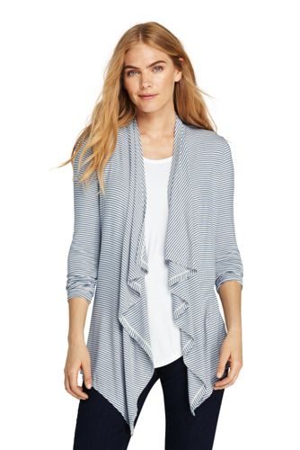 Women's Striped Lightweight Waterfall Cardigan