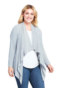 Women's Plus Stripe Cascade Knit Cardigan