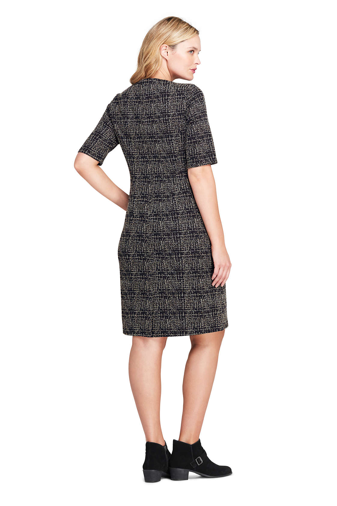 Plus Size Ponte Knit Sheath Tweed Dress with Elbow Sleeves Land\'s End