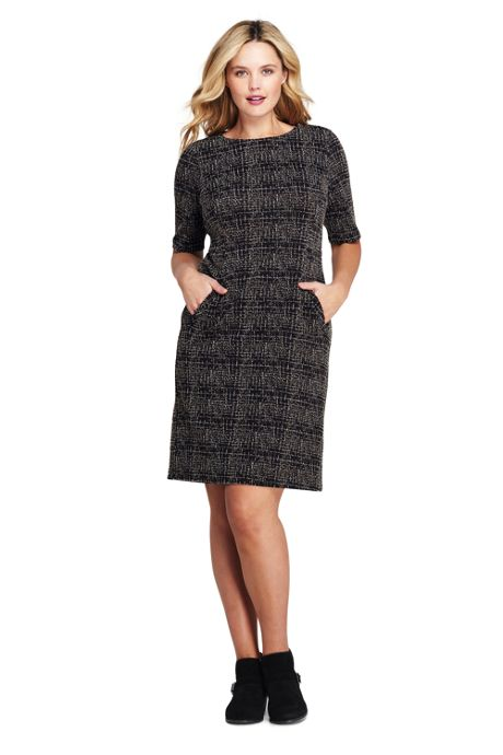 Women's Plus Size Ponte Knit Sheath Tweed Dress with Elbow Sleeves