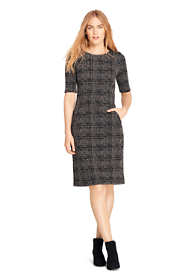 Women's Tall Ponte Knit Sheath Tweed Dress with Elbow Sleeves