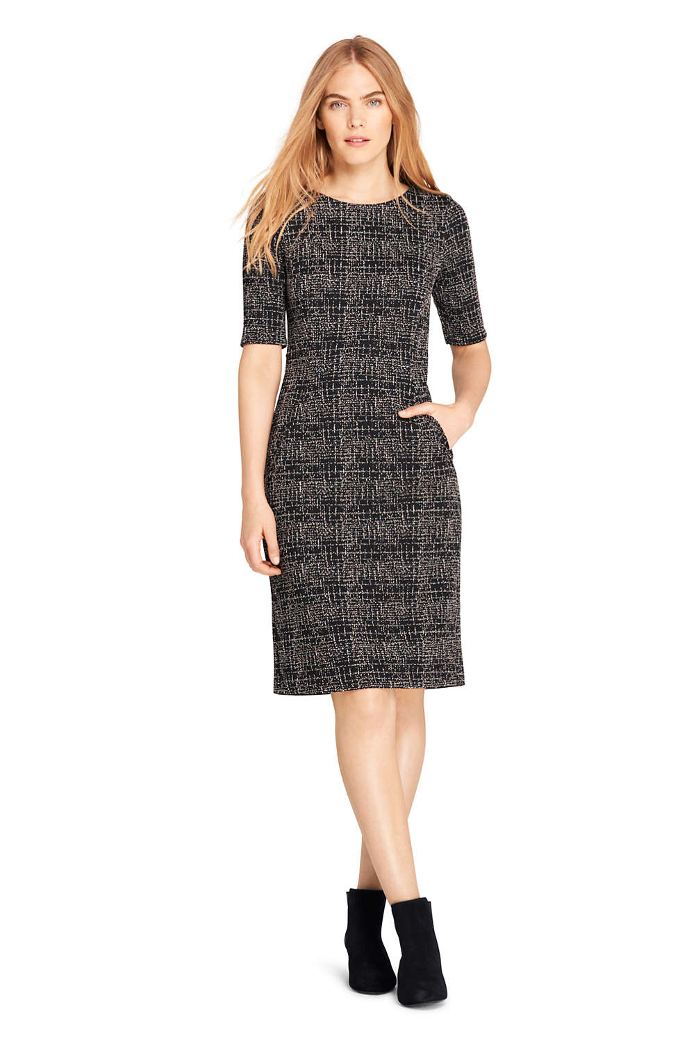 587d6deefbb Women s Ponte Knit Sheath Tweed Dress with Elbow Sleeves from Lands  End