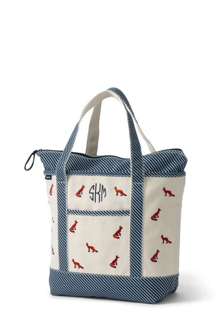 Embroidered Medium Zip Top Canvas Tote Bag