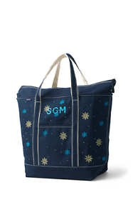 Embroidered Large Zip Top Canvas Tote Bag
