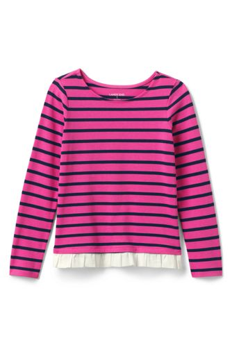 Lttle Girls' Long Sleeve Ruffle Hem Top