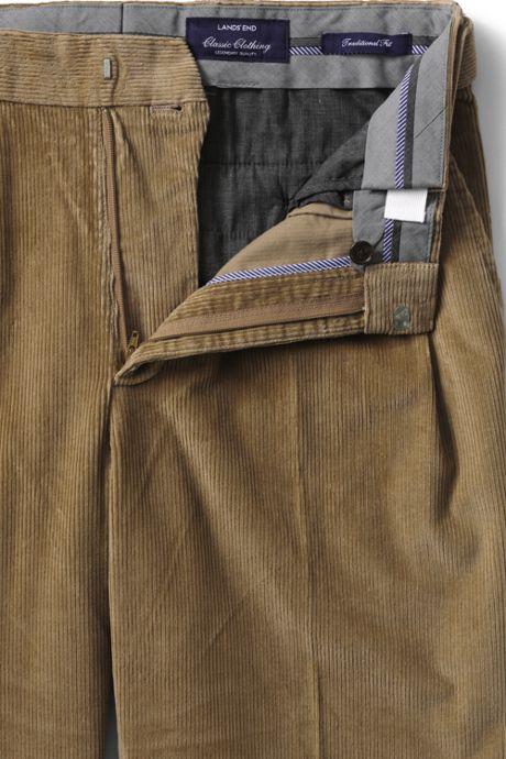 Men's Comfort Waist Pleat Front Comfort-First 10 Wale Corduroy Trousers