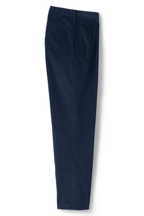 Men's Traditional Fit Pleat Front Comfort-First Fine Wale Corduroy Trousers