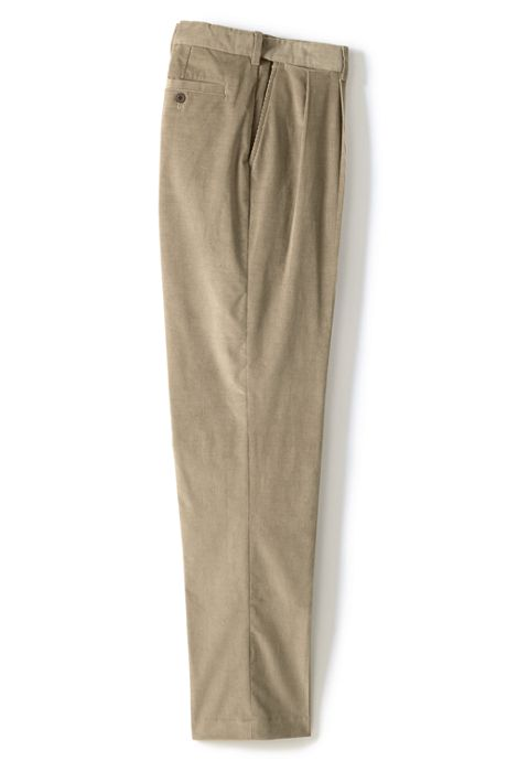 Men's Long Comfort Waist Pleated Comfort-First Corduroy Dress Pants