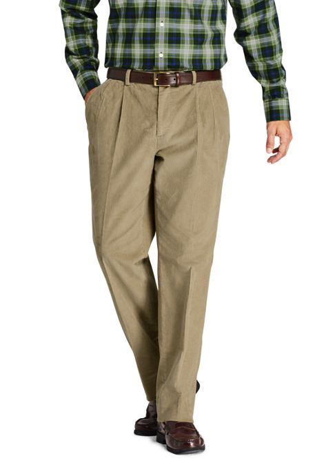 Men's Traditional Fit Pleat Front Comfort-First 10 Wale Corduroy Dress Pants