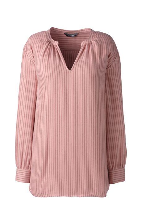 Women's Plus Size Long Sleeve Tunic Peplum Back Popover