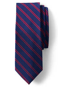 Men's Long Silk Small Double Stripe Tie