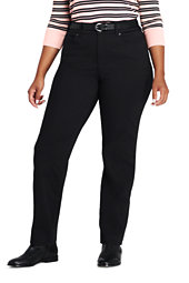 Lands' End Women's Plus Size Mid Rise Straight Fit Shaping Black Jeans