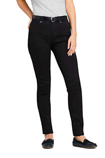 Women's Petite Mid Rise Curvy Skinny Twill Jeans - Black, Front