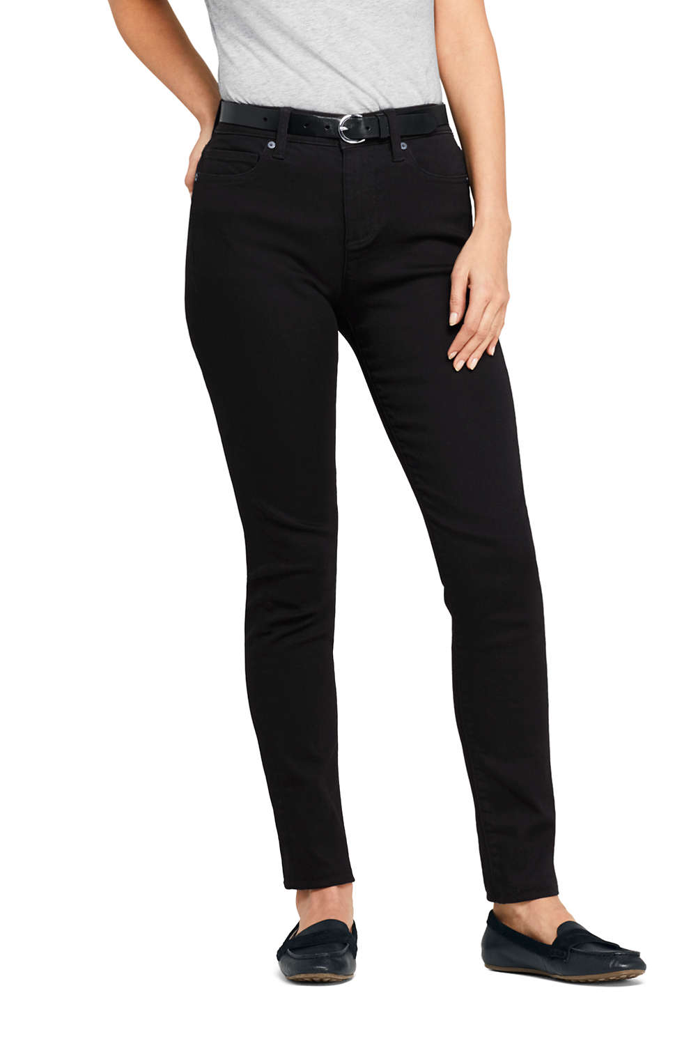 bb1d7adc480 Women s Mid Rise Curvy Black Skinny Jeans from Lands  End