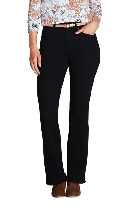 Women's Tall Mid Rise Curvy Boot Cut Black Jeans