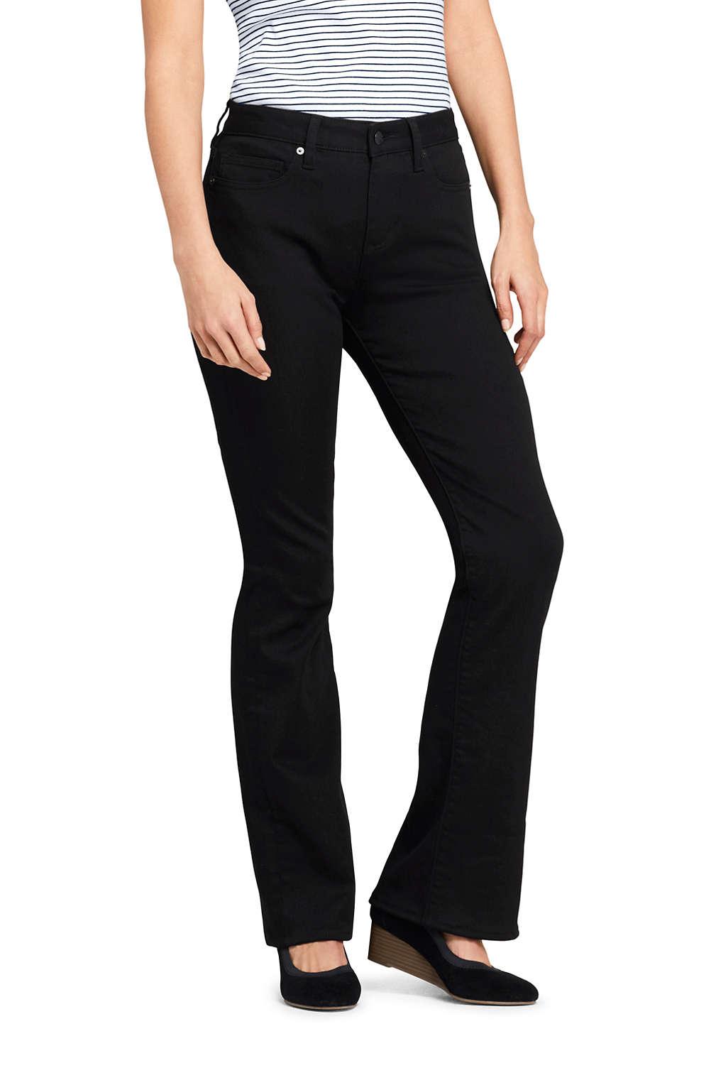 b2408dea5edc8c Women's Mid Rise Curvy Boot Cut Black Jeans from Lands' End
