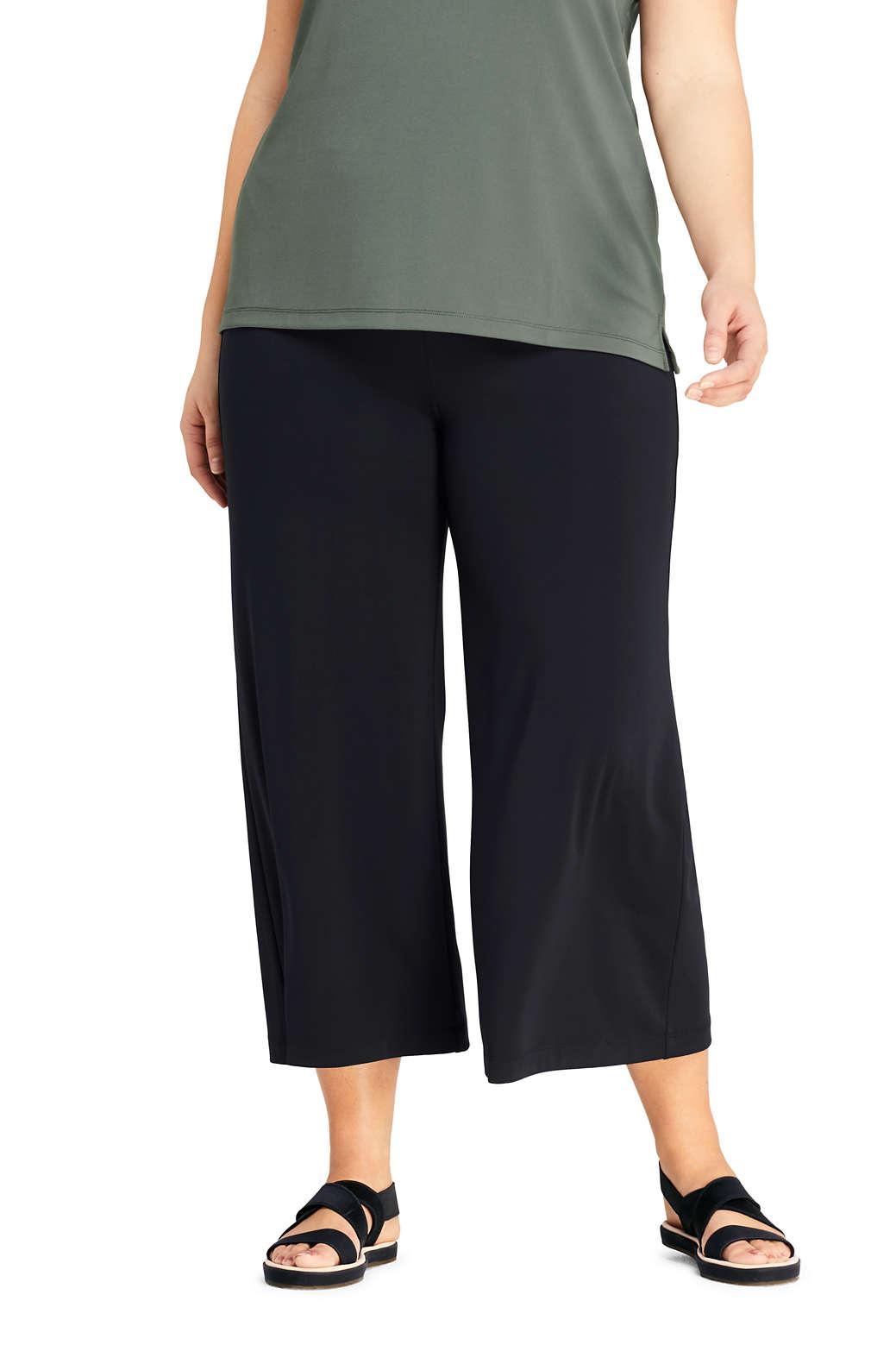 982d93b561 Women s Plus Size Matte Jersey Wide Leg Crop Pants from Lands  End