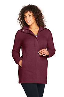 Lands End Womens Plus Size Sweater Fleece Coat