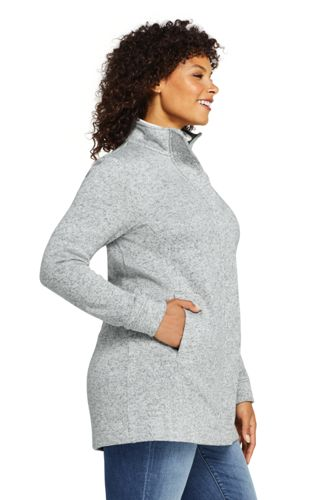 Women's Plus Size Petite Sweater Fleece Coat