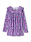 Toddler Girls' Ruffle Shoulder Patterned Tunic Top