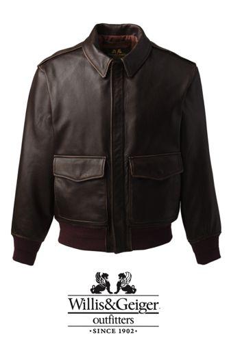 Men S Willis Geiger Leather Bomber Jacket From Lands End