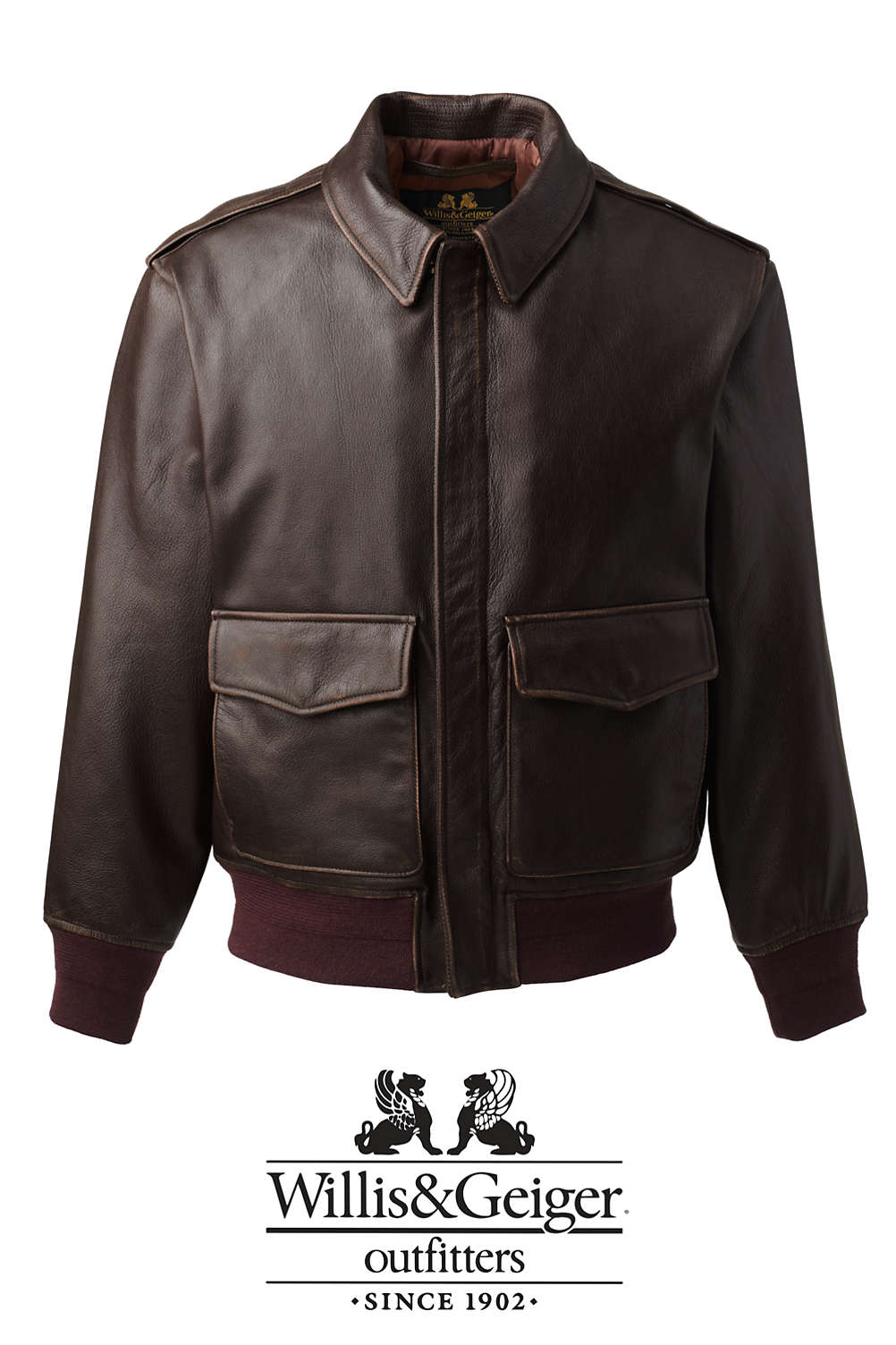 555a75f6cdec Men's Willis & Geiger Leather Bomber Jacket from Lands' End