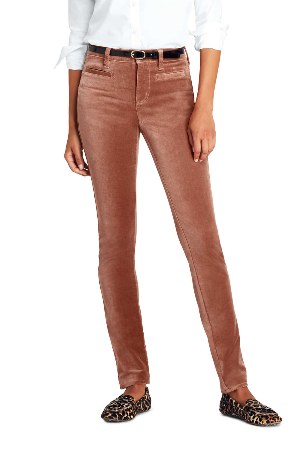 cbf6b654e6c Women's Mid Rise Velvet Slim Leg Pants from Lands' End