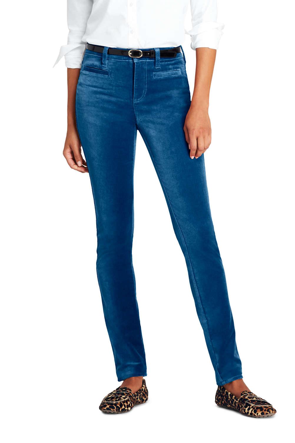 24f1745de Women's Mid Rise Velvet Slim Leg Pants from Lands' End
