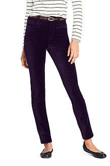 Le Pantalon Slim en Velours Stretch Taille Mi-Haute, Femme