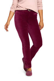 Women's Plus Size High Rise Velvet Slim Leg Pants
