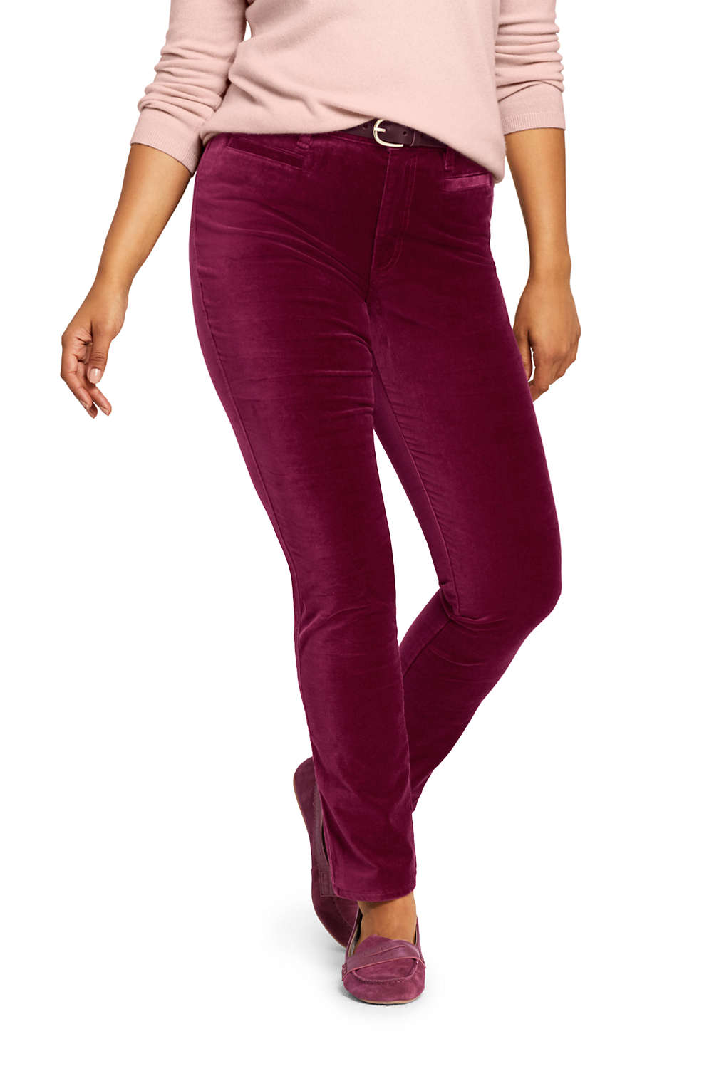 2b1e78d5c94 Women's Plus Size Mid Rise Velvet Slim Leg Pants from Lands' End
