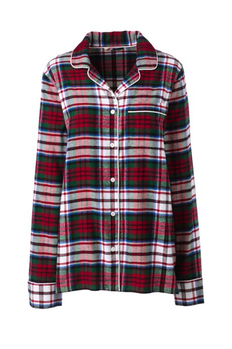Women's Plus Size Print Flannel Pajama Top