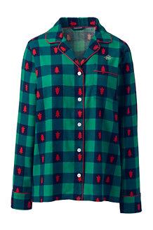 Gemustertes Flanell-Pyjamahemd für Damen in Normalgröße
