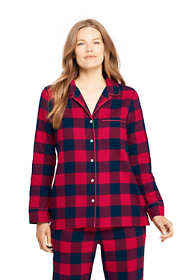 Women's Petite Long Sleeve Print Flannel Pajama Top