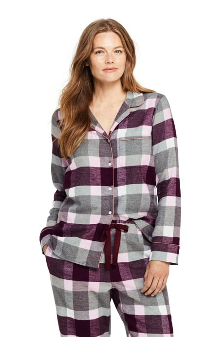 Women's Petite Print Flannel Pajama Top