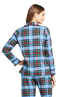 Women's Long Sleeve Print Flannel Pajama Top, Back
