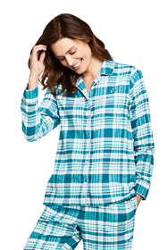 Women's Long Sleeve Print Flannel Pajama Top