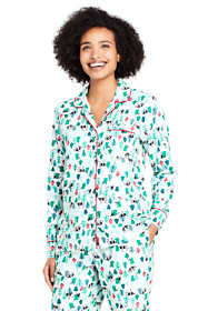 Women's Tall Long Sleeve Print Flannel Pajama Top