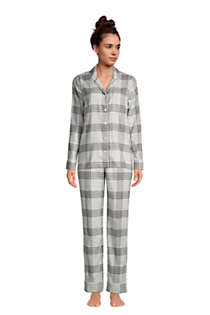 Women's Tall Long Sleeve Print Flannel Pajama Top, alternative image