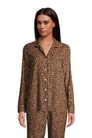 Women's Petite Long Sleeve Print Flannel Pajama Top