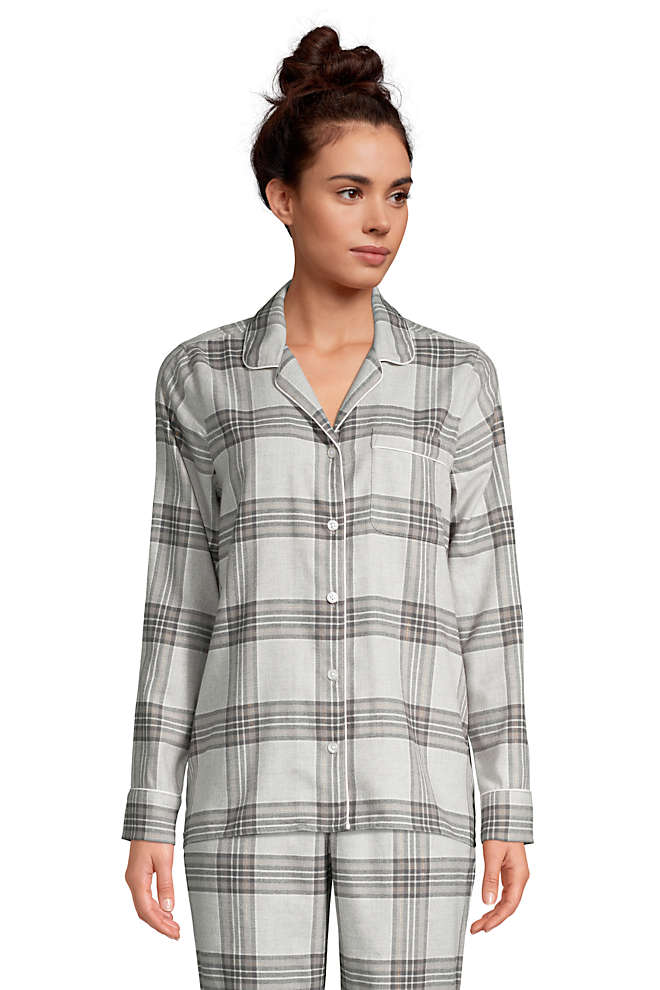Women's Tall Long Sleeve Print Flannel Pajama Top, Front