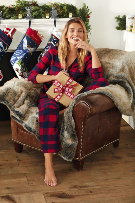 Women's Petite Print Flannel Pajama Top
