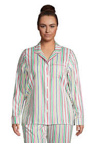 Women's Plus Size Long Sleeve Print Flannel Pajama Top