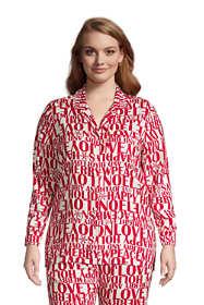 Women's Plus Size Long Sleeve Print Flannel Pajama Top