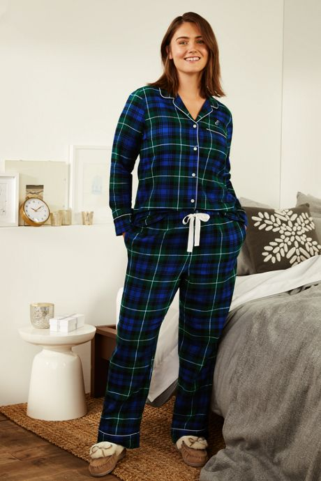 Women's Plus Size Print Flannel Pajama Top
