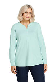Women's Plus Size Long Sleeve Button Cuff Tunic Top
