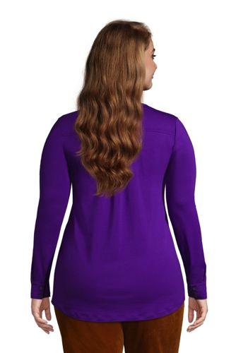 Women's Plus Size Long Sleeve Button Cuff Tunic Top